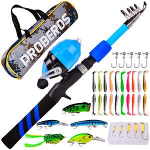 38PCS Fishing Telescopic Rod Reel Kit Line Soft Lures Spoon Minnow Sea Saltwater