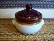 Vintage Individual Bean Pot Stoneware Pottery With Lid & Side Handles Brown/Tan