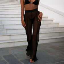 Women Beach Mesh Sheer Bikini Cover Up Swimwear Transparent Long Pant Trouser GS