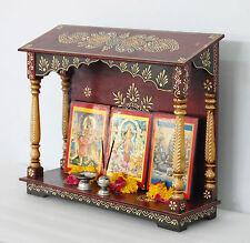 Wooden Hindu Temple Mandir Embossed Painting Pooja Ghar free Pooja thali VE763