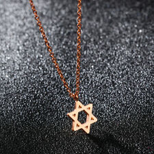 Hollow Star of David Rose Gold GP Surgical Stainless Steel Pendant Necklace Gift