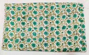 Indian Kantha Quilt Floral Blanket Hand Block Print Cotton Coverlet Bedding V