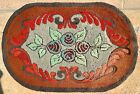 """Antique Vintage American Hand Made Hooked Rug Flowers 38"""" x 25 1/2"""" Oval"""