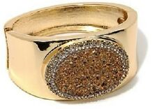 Real Collectiblesby Adrienne Simulated Drusy&Crystal Hinged Pavé Bangle Bracelet