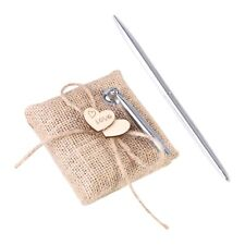 Rustic Hessian Burlap Wedding Pen Stand Country Wedding Ceremony Pen Set