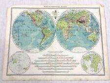 1909 Antique World Map Eastern Western Hemisphere Globe Chart George Philip