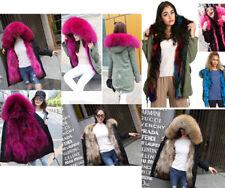 Women's Long Parka Coat With Real Fur Hood Trim Lining detachable fur trim Coat