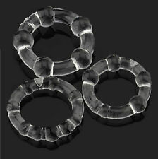 Clear Beaded Cock Ring Penis Ring Super Stretchy 3 Pack Erection Aid