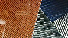 "Carbon Fiber Kevlar Hybrid Fiberglass Panel 6""×12""×3/32"" Glossy Both Side Orange"