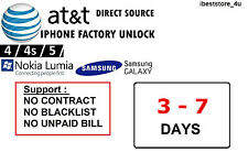 Samsung Galaxy S2 S3 S4 S5 Note 2,3,4, 5 Unlock CODE Service for Clean IMEI AT&T