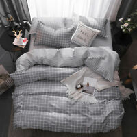 Grey Plaid Cotton Duvet Doona Cover Bedding Set Quilt Cover Single Queen King