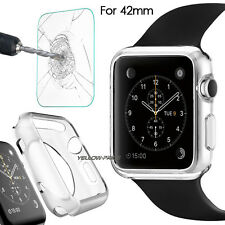 Apple Watch TPU Silicone Transparent Case with Tempered Glass Film iWatch 42mm