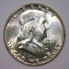 1951 Franklin Silver Half Early Date ~ Lustrous BU Brilliant Uncirculated UNC