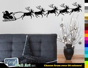 Reindeer Pulling Santa Christmas Vinyl Wall Art Sticker Various Colors +FREE P&P