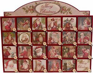"Vintage Santa Wooden Advent Calendar with Doors Primitives by Kathy 17 x 14"""