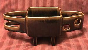 INSANELY COOL 50s MCM Brutalist Ceramic Planter Vase Googie Atomic Danish Glazed