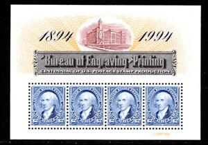 US 2875, 1994 $2.00 BUREAU CENTENNIAL,  $2.00 PANE OF 4, MNH (US959)