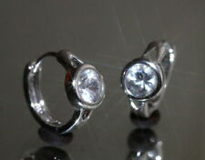 Hoop White Gold Filled Fine Diamond Earrings
