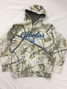 Boys Extra Large Cabela's Hooded Sweat Shirt w/Front Hand Pouch, White Camo