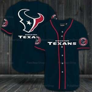 Houston Texans Baseball Shirt Summer Casual T-shirt Button-down Tee Top Uniform