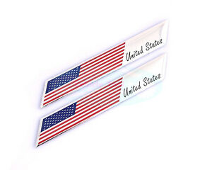 2pcs Metal United States USA National Flag Decal Emblem Badge Sticker For Chevy
