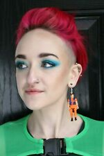 Action Man Orange Grunge Cyber Kawaii Pastel Upcycled Single Earring