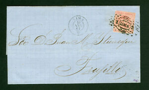 PERU 1860  Coat of Arms  1peseta  brick red  Scott # 10 used on COVER from Lima