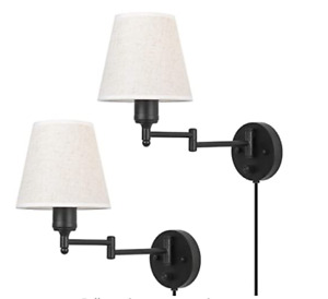 Swing Arm Wall Lamps Set of 2- Plug Wall Sconces with ON/Off Switch On Base...