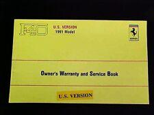 Ferrari F40 Owners Warranty Card Manual_Service Book US Version 631/90 OEM