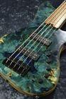 Alpher Instruments: Mako Elite 5st Crazy Burl Top Electric Bass for sale