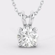 Round Solitaire White Gold Natural Diamond Pendant + Necklace SPECIAL PROMOTION