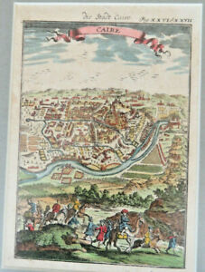 Antique Cairo, hand coloured engraving Framed by Alain M Mallet circa 1720