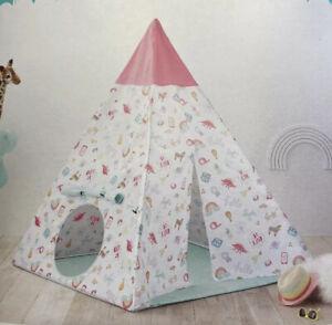 """NEW Pillowfort Kids Play Tent Doodles Pink and Aqua 60"""" X 52"""" X 52"""""""