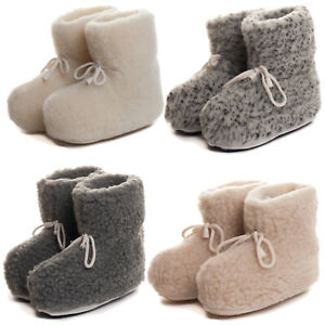 Ladies Womens Mens Sheep Wool Slippers Thermal Shoes Boots all sizes natural