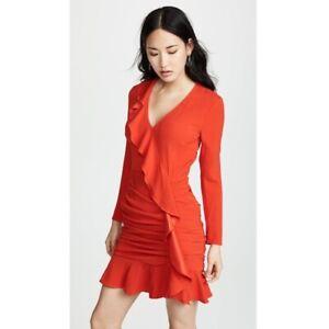 NWT $595 Veronica Beard Odessa red dress women's size 12 flounce hem v-neck