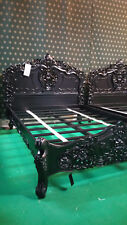 UK STOCK ~ 5' King size in mogano francese stile ROCOCO letto Gotico Matt Black