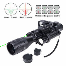 New Rifle Scope 4-16x50 EG w/ Holographic 4 Reticle HD Sight & Green Laser Combo