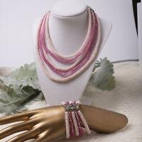 "Vintage 50's 5 Strand Pink Crystal Glass Flat Bead 16"" Adj Necklace Bracelet Set"