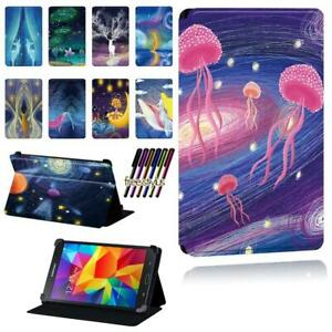Leather Flip Smart Stand Case Cover Fit Samsung Galaxy Tab 2 / 3 / 4 Tablet +Pen