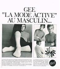PUBLICITE  1969   GEF   la mode active  chaussettes pulls  la mode au masculin