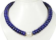 Collar BELLO de lapislázuli forma con perla Núcleo de concha en forma de bola