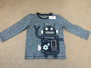 Boys Skhuaban Long Sleeve T-Shirt Top Robot Print Olive Green Age 2 to 3 Years