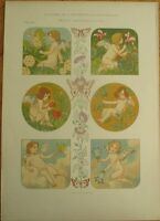 Art Nouveau 'G. Sturm' 1900 Print - Amours/Cupid, Color Litho