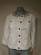 NWT HEARTS OF PALM Womans White  Long Sleeve Jacket Size 14 Gems On Collar  T42