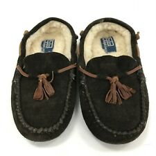 Ralph Lauren Women's Leather Shearling Slippers UK 3.5 Brown Moccasin 301882