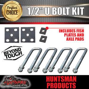 "50mm X 150mm 1/2"" Trailer Caravan Boat U bolt kit. Slotted Fish Plates axle pads"