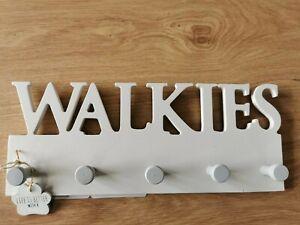Walkies Dog Hook x 5 hooks on cream plaque dog lover lead gift rack