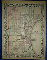Vintage 1873 MILWAUKEE, WISCONSIN MAP Old Antique Original & Authentic