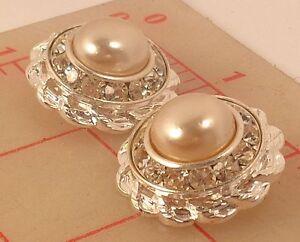 "2 Czech double layer silver metal shank rhinestone buttons w/ glass pearl 1"" 320"
