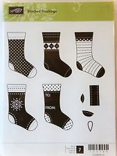 Stampin Up STITCHED STOCKINGS clear mount stamps Chrismas stocking Holidays